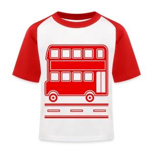 Red Bus T-Shirt including Bus Back Print - Kids' Baseball T-Shirt