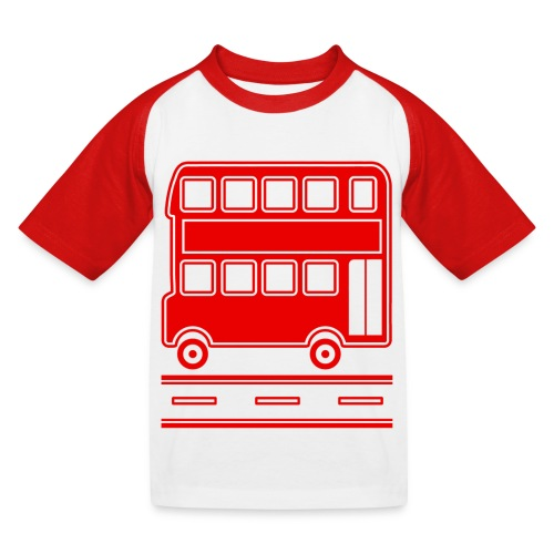 Red Bus T-Shirt including Bus Back Print - Kids' Baseball T-Shirt