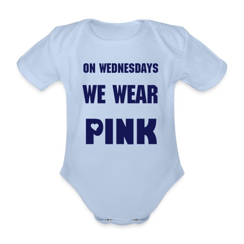 Organic Short-sleeved Baby Bodysuit - on wednesdays we wear pink,mean girls