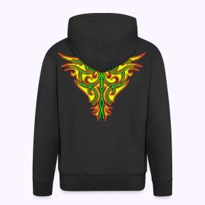 Maori Firebird Men's Hooded Jacket Back Print - Miesten premium vetoketjullinen huppari