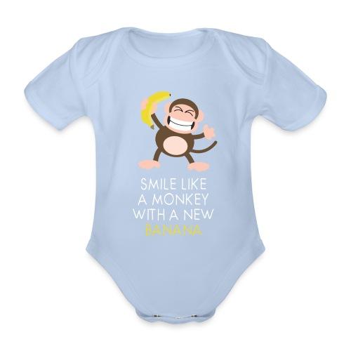 Monkey with banana - Baby Bio-Kurzarm-Body