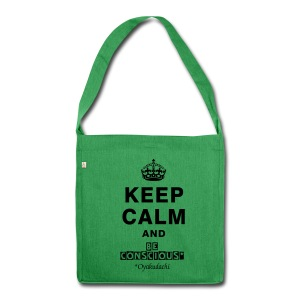KeepCalm and BeConscious Black - Shoulder Bag made from recycled material