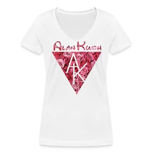 Frauen T-Shirt AK Rosen weiß V-Ausschnitt  - Frauen Bio-T-Shirt mit V-Ausschnitt von Stanley & Stella