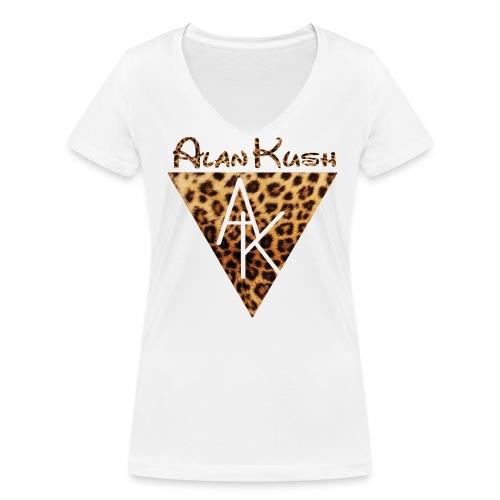 Frauen T-Shirt AK Leopard weiß V-Ausschnitt  - Frauen Bio-T-Shirt mit V-Ausschnitt von Stanley & Stella