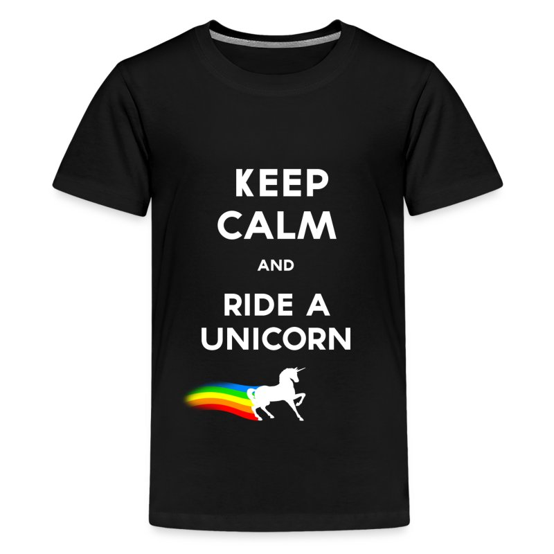 Keep calm and ride a unicorn (White).png - T-shirt Premium Ado