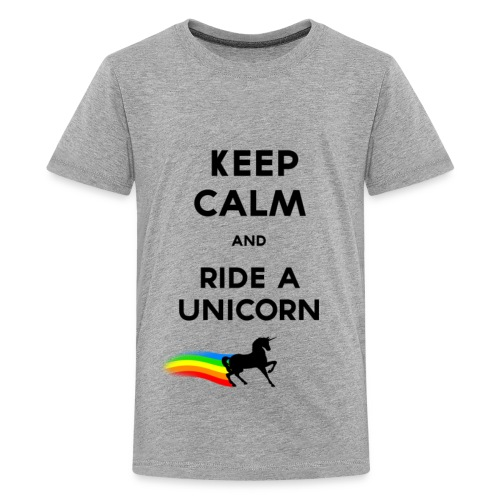 Keep calm and ride a unicorn (Black).png - T-shirt Premium Ado
