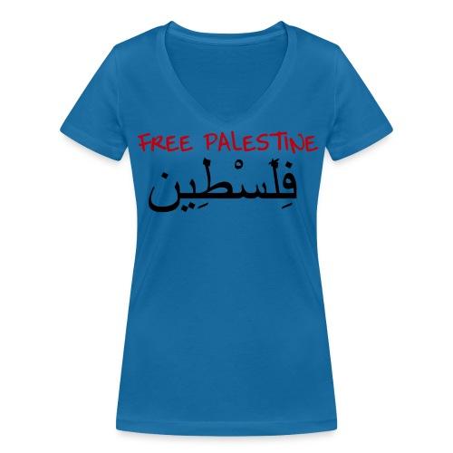 Vrouwen T-Shirt - Free Palestine - Vrouwen bio T-shirt met V-hals van Stanley & Stella
