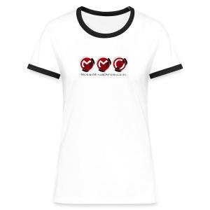 Womens Ringer T-Shirt White/Black large Logo - Women's Ringer T-Shirt