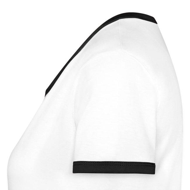 Womens Ringer T-Shirt White/Black large Logo