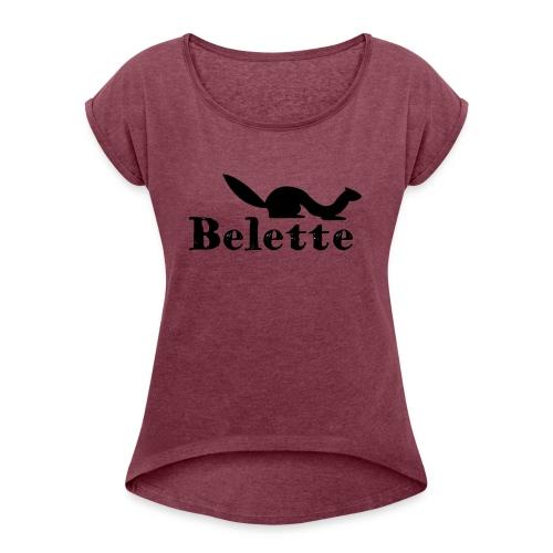 T-shirt Belette roulotté - T-shirt à manches retroussées Femme