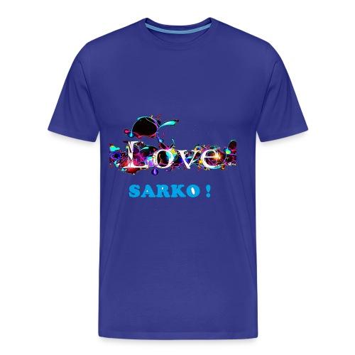 TSHIRT BLEU HOMME LOVE SARKO - T-shirt Premium Homme