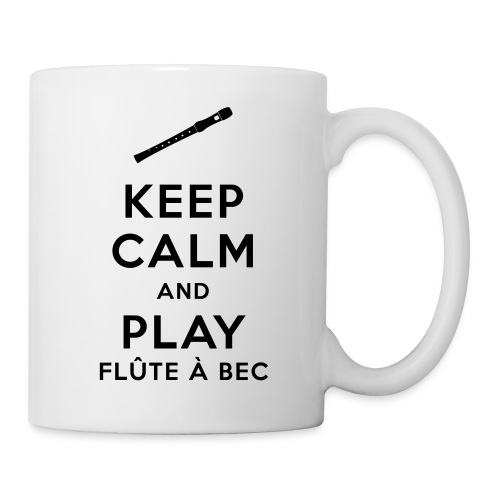 Mug Keep calm and play flûte à bec - Mug blanc