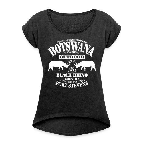 Nashorn - Black Rhino - Frauen T-Shirt mit gerollten Ärmeln