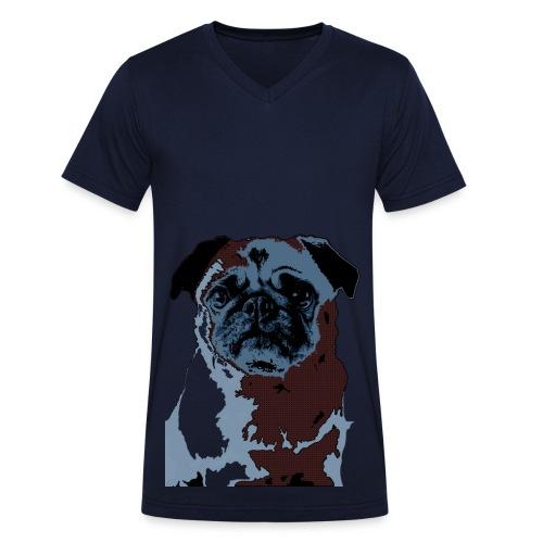 Blue Pug Shirt Men - Männer Bio-T-Shirt mit V-Ausschnitt von Stanley & Stella