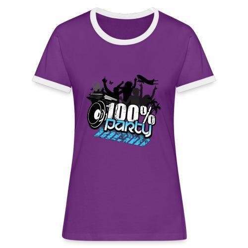 100% PARTY (Nyhet) - Kontrast-T-shirt dam