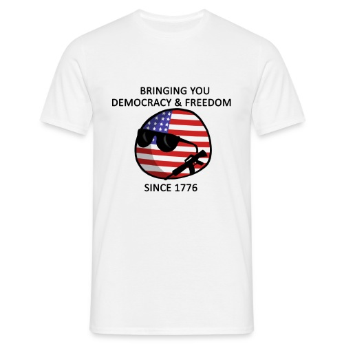 Democracy & Freedom - black text - Men's T-Shirt