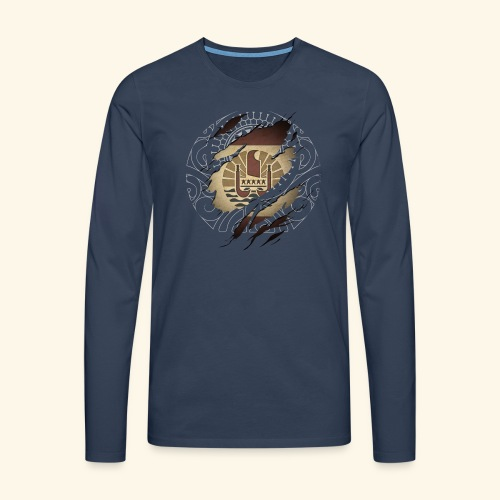 Drapeau Polynésie Française et tattoo - T-shirt manches longues Premium Homme