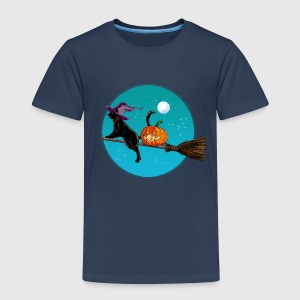 Marinblå Halloween Witch Cat T-shirts - Premium-T-shirt barn
