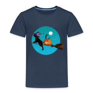 Azúl navy Halloween Witch Cat Camisetas - Camiseta premium niño