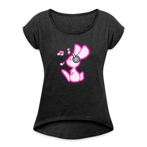 Glowing Music Bunny - Frauen T-Shirt mit gerollten Ärmeln