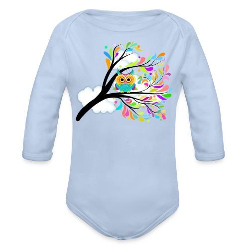 Farbenfrohe Eule - Baby Bio-Langarm-Body