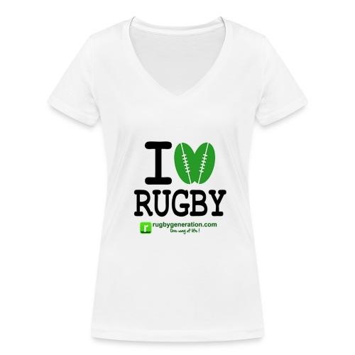 Tee-shirt col V Femmes I Love Rugby - T-shirt bio col V Stanley & Stella Femme
