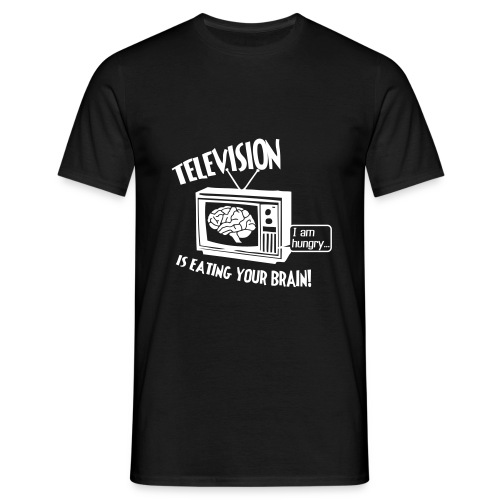 T-shirt Television eating brain - T-shirt Homme