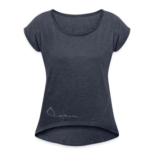 MPS Logoschriftzug - Boyfriend Style for Women Ton in Ton (Print: Light Blue) - Frauen T-Shirt mit gerollten Ärmeln