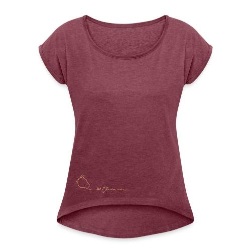 MPS Logoschriftzug - Boyfriend Style for Women Ton in Ton (Print: Sand) - Frauen T-Shirt mit gerollten Ärmeln