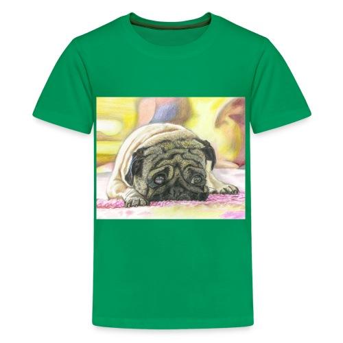 Mops (in Grün) - Teenager Premium T-Shirt