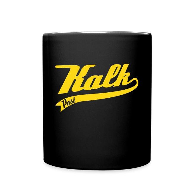 Weisse Tasse mit Kalk Post Classic gelb