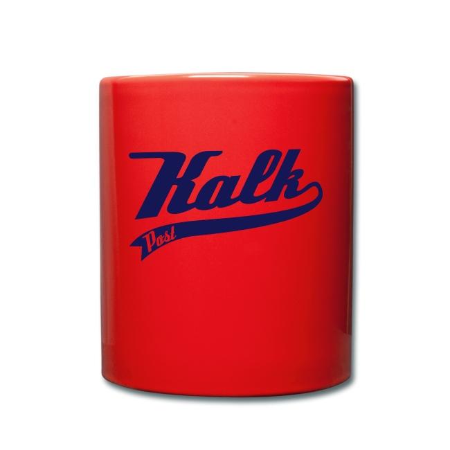 Rote Tasse mit Kalk Post Classic blau