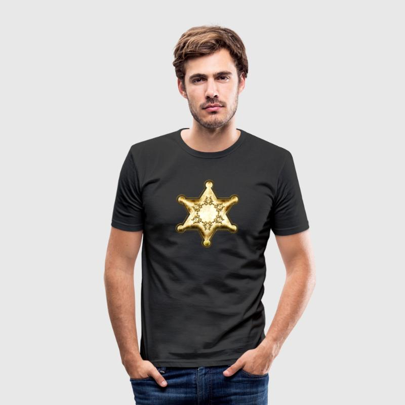 Gold Sheriff Star, Wild West America, Chief, Boss T-Shirts - Men's Slim Fit T-Shirt