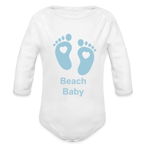 Blue Foot Print One Piece - Organic Longsleeve Baby Bodysuit