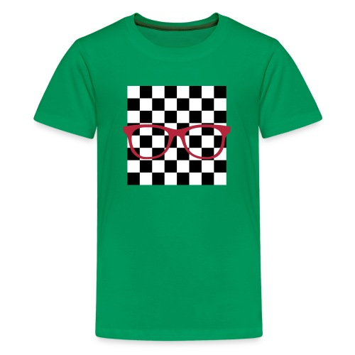 Nerdbrille Schachbrett - Teenager Premium T-Shirt