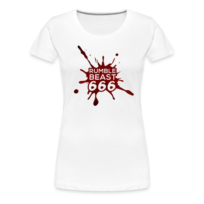 """RumbleBeast666 Girlie-Shirt """"Come to where the Flachsinn is"""" (weiß)"""