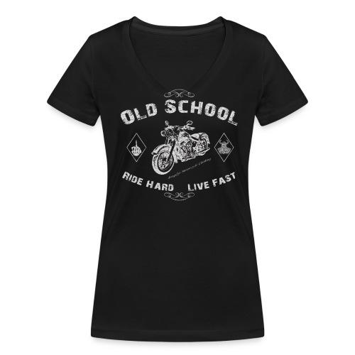 Biker Girly-Shirt | Ride Hard - Live Fast - Frauen Bio-T-Shirt mit V-Ausschnitt von Stanley & Stella