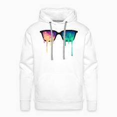 Bianco Abstract Psychedelic Nerd Glasses with Color Drops Felpe