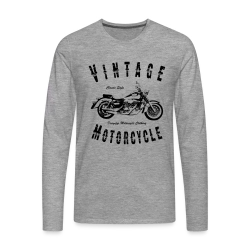 Biker T-Shirt | Vintage Motorcycle (Black) - Männer Premium Langarmshirt