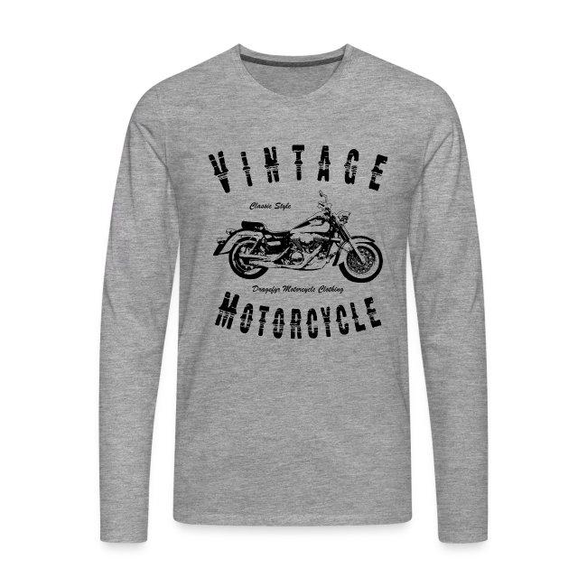 Biker T-Shirt   Vintage Motorcycle (Black)