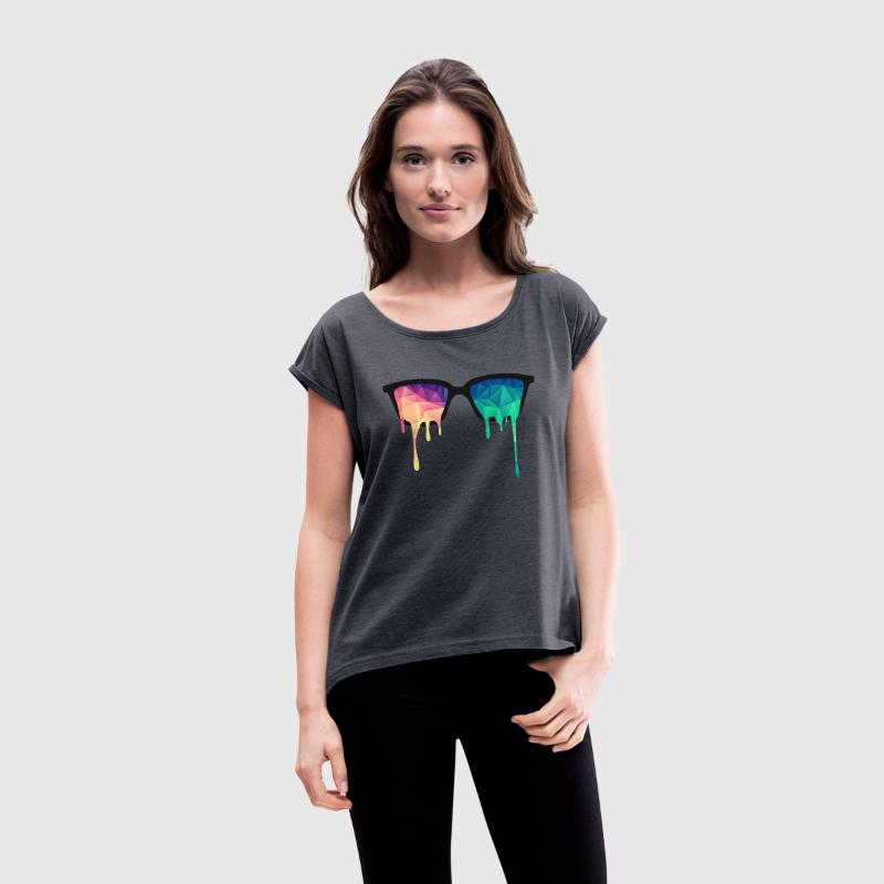 Abstract Psychedelic Nerd Glasses with Color Drops T-shirts - Dame T-shirt med rulleærmer