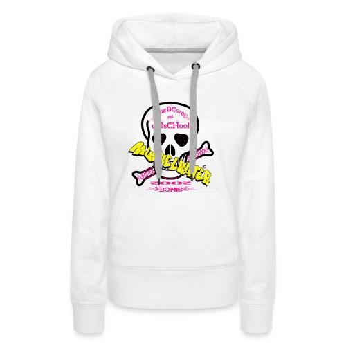 Damen Hoody Skull pink mit Ärmeldruck - Frauen Premium Hoodie