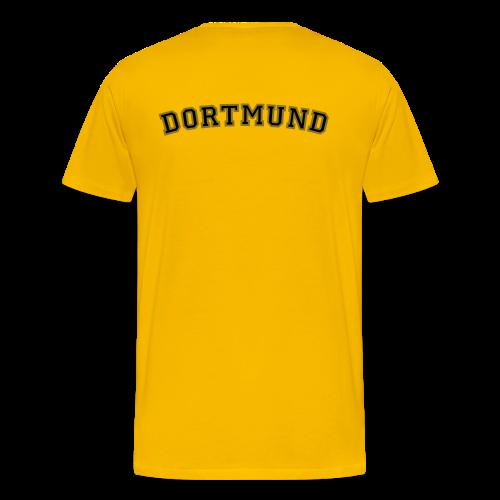 Dortmund T-Shirt College Style (Herren Gelb/Schwarz/Gold) Rücken - Männer Premium T-Shirt