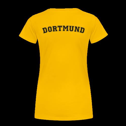 Dortmund T-Shirt College Style (Damen Gelb/Schwarz/Gold) Rücken - Frauen Premium T-Shirt