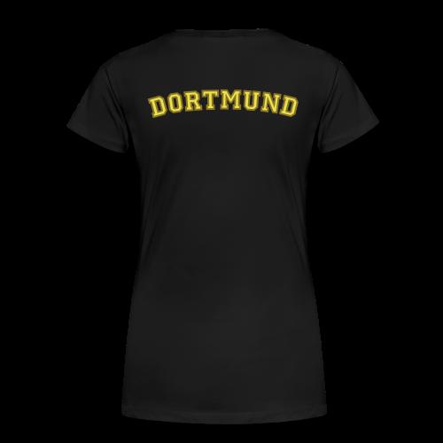 Dortmund T-Shirt College Style (Damen Schwarz/Gelb/Gold) Rücken - Frauen Premium T-Shirt
