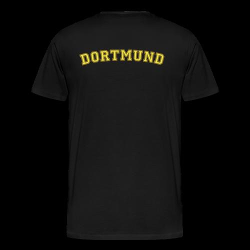 Dortmund T-Shirt College Style (Herren Schwarz/Gelb/Gold) Rücken - Männer Premium T-Shirt