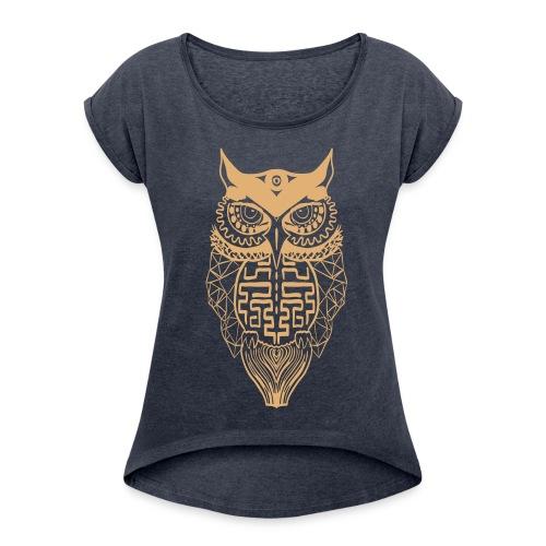 Vrouwen uil - Vrouwen T-shirt met opgerolde mouwen