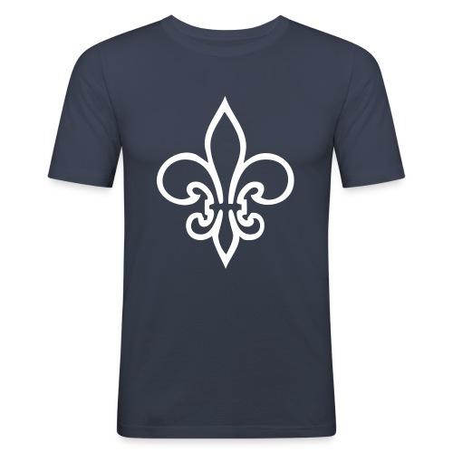 Lilien-Shirt+ Aufschrift - Männer Slim Fit T-Shirt