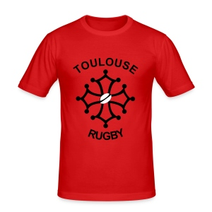 T-shirt rouge Toulouse Rugby - Tee shirt près du corps Homme