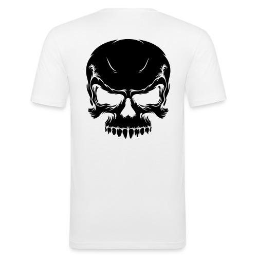 t-shirt blanc impression logo tete de mort - T-shirt près du corps Homme